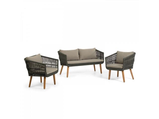Комплект La Forma Inti с 2-местным диваном и 2 креслами CC2100J12 Коричневый