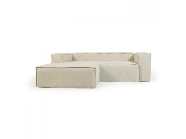 2-местный диван Blok с шезлонгом слева и съемными чехлами из льна белого цвета La Forma S575SN39