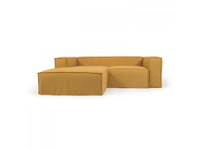 2-местный диван Blok с шезлонгом слева и съемными чехлами из льна желтого цвета La Forma S575SN81