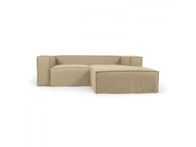 2-местный диван Blok с шезлонгом справа и съемными чехлами из льна бежевого цвета La Forma S574SN12
