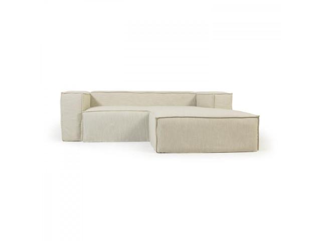 2-местный диван Blok с шезлонгом справа и съемными чехлами из льна белого цвета La Forma S574SN39