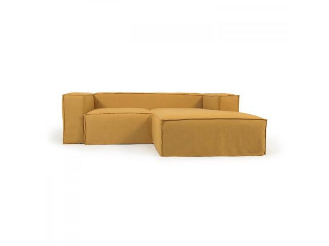 2-местный диван Blok с шезлонгом справа и съемными чехлами из льна желтого цвета La Forma S574SN81