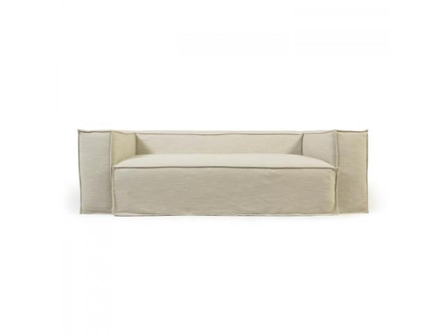 3-местный диван Blok со съемными чехлами из льна белого цвета La Forma S570SN39