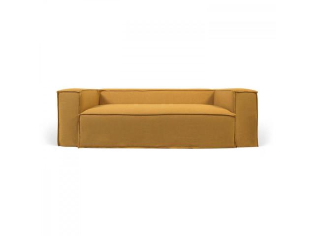 3-местный диван Blok со съемными чехлами из льна желтого цвета La Forma S570SN81